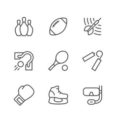 set line icons of sport vector image