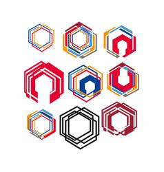 set modern style geometric hexagonal logo vector image