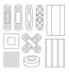 set of beige plaster vector image