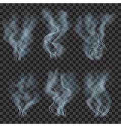 Set of translucent light blue smoke vector