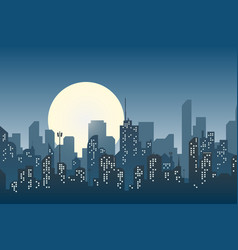 Silhouette of the city in a flat style modern vector