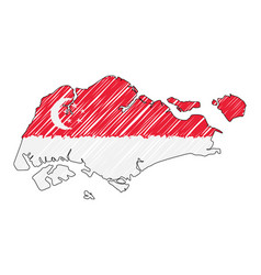 Singapore map hand drawn sketch concept vector