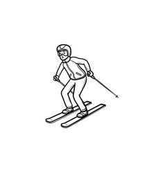 skier skiing downhill hand drawn outline doodle vector image