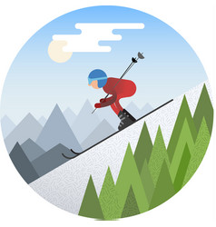 Skier sliding from the snowy hill vector