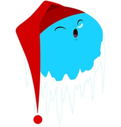 Sleeping Frozen Planet With Red Hat vector image