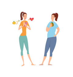slim and fat woman diet nutrition sport vector image