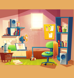 Small room cartoon bedroom with furniture vector