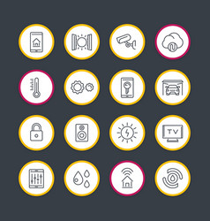 smart house technology system line icons set vector image