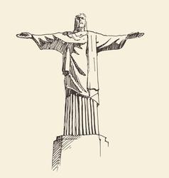 Statue jesus christ rio de janeiro city vector