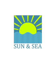 sun and sea logo vector image
