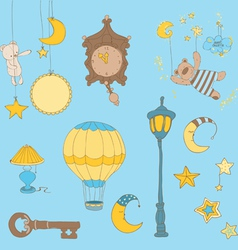 sweet dreams - design elements for baby scrapbook vector image