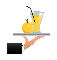 tray hand orange juice cup with straw vector image