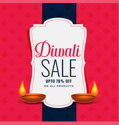 Trendy diwali sale banner with two diya lamps vector