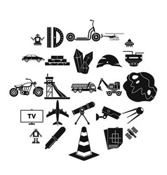 tv software icons set simple style vector image