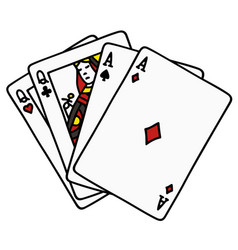 two pair of poker cards vector image
