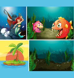 Underwater ocean scene background vector