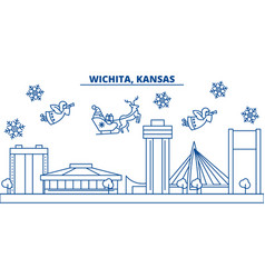 usa kansas wichita winter city skyline merry vector image