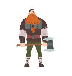 Viking warrior with axe red scandinavian vector
