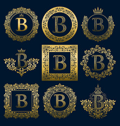 Vintage monograms set of b letter vector