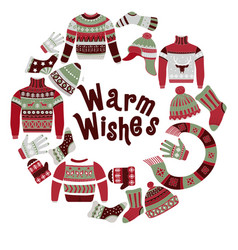 warm wishes card and knitwear with festive winter vector image