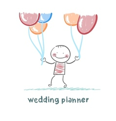 Wedding planner with helium balloons vector