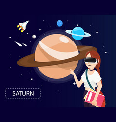 women wearing virtual reality glasses looking vector image