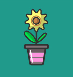 Yellow flower with green leaves in special pot vector