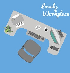 Flat office workplace in eps vector image vector image