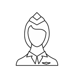 Stewardess icon outline style vector image