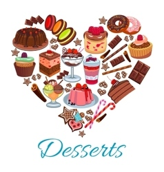 Sweet heart shape with desserts elements vector image vector image
