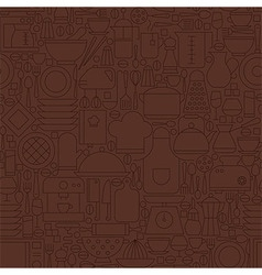 Thin Line Brown Kitchenware and Cooking Seamless vector image