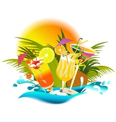 Tropical party drinks vector image