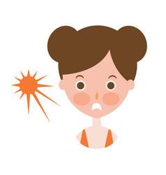 woman upset with sunburn on cheeks part of summer vector image