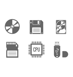 Digital Data Icons Set vector image