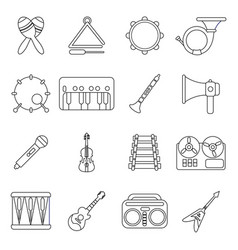 musical instruments icons set outline style vector image vector image