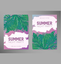 summer vertical backgrounds with tropical leaves vector image vector image