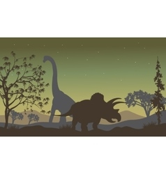 triceratopsand Brachiosaurus silhouette vector image vector image