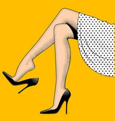 vintage drawing of beautiful woman legs in vector image vector image