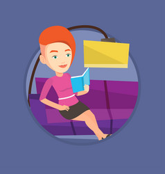 woman reading book on sofa vector image