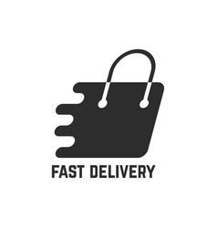 black shopping bag like fast delivery vector image