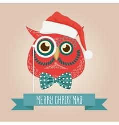 Christmas cute forest owl bird head logo vector image vector image