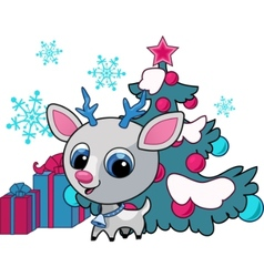 christmas deer vector illustration vector image