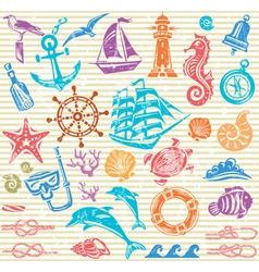 Nautical and sea set vector image vector image