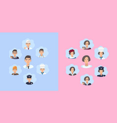set of career choice concept young guy and girl vector image vector image