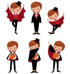 Set of Halloween vampire in various poses vector image