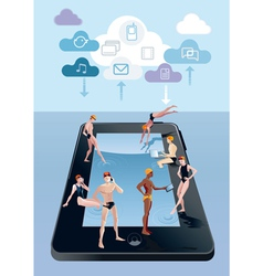 Digital Tablet As Swimming Pool vector image