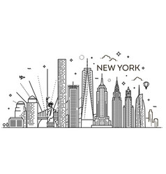 New york city skyline flat vector
