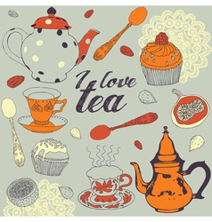 Seamless background Love tea vector image vector image