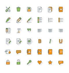 Text formatting flat design icon set document pen vector