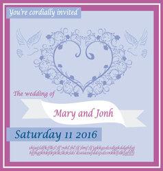 wedding invitation 2 vector image vector image